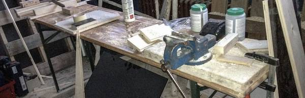 Workbench with tools.